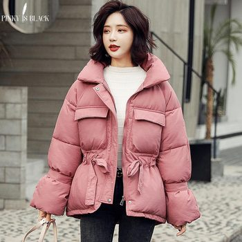 PinkyIsBlack Women Winter Jackets Parkas 2019 Fashion Thick Warm Lantern Sleeve Tops Jackets Solid Sweet Winter Coat For Female клава 2019 11 30t19 00