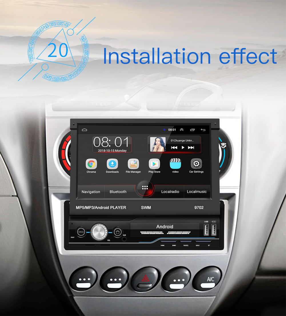 1 Din Android Mobil Radio Mobil Multimedia Player Gps Navigasi WIFI Auto MP5 Bluetooth USB FM Audio Stereo Bluetooth USB fm