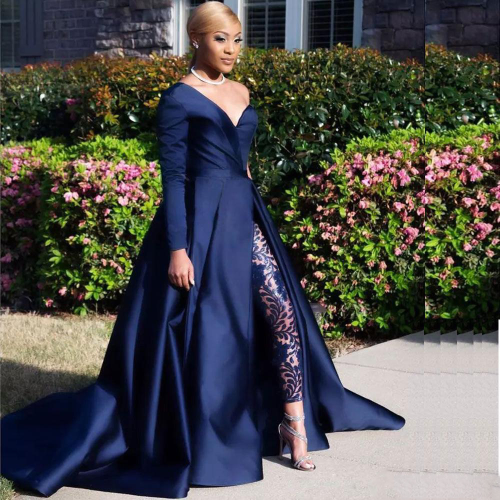 African Kafan Navy Blue Two Pieces Prom Dresses One Shoulder Satin Front Split Pantsuit Evening Gowns Party Dresses