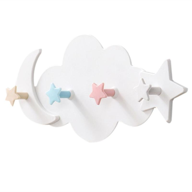 Practical Decorative Hooks ABS Moon Star Cloud Shape Self Adhesive Wall Hooks Kitchen Hanger For Clothes Bag Hat Key