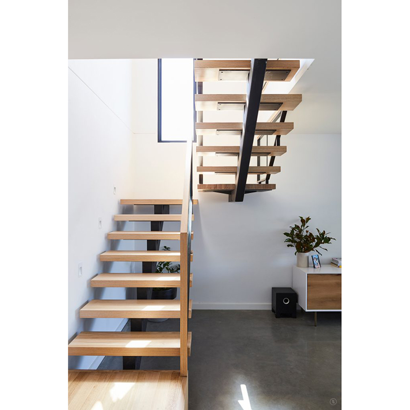 Custom Contemporary House U Shape Wood Staircases Glass Railing | Living Room Railing Design | Balcony | Stair Case | Flooring | Step Down | Wrought Iron