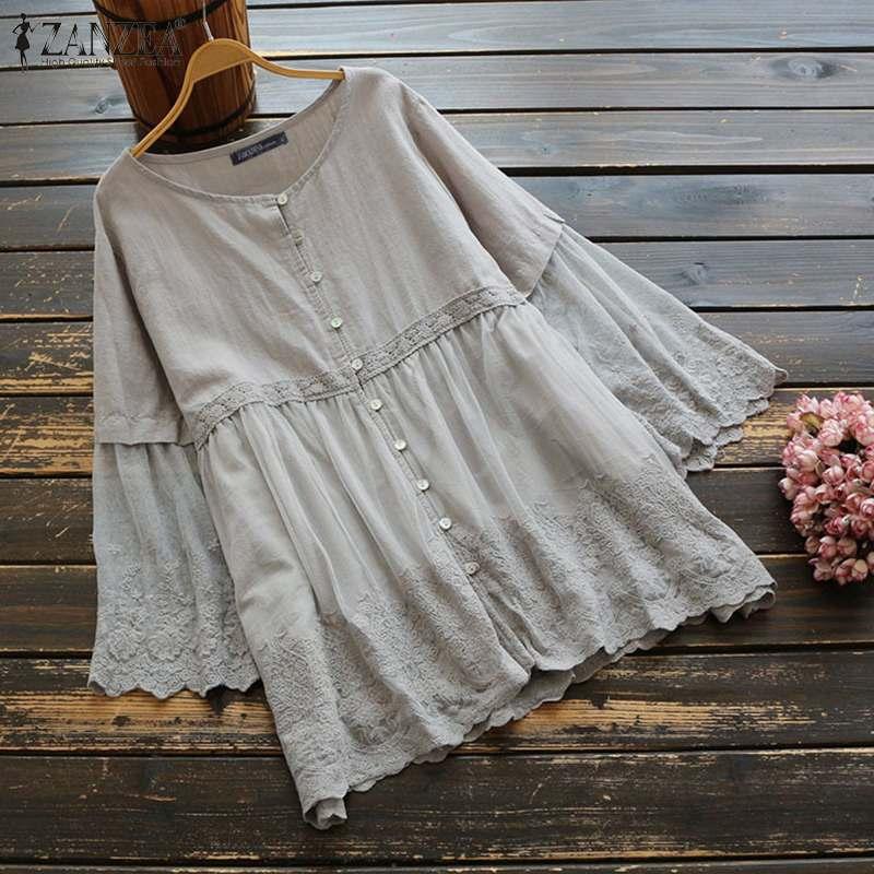 Plus Size Vintage Long Sleeve Tops Women's Summer Shirts 2020 ZANZEA Casual Button Blusas Female Lace Stiching Blouse Tunic
