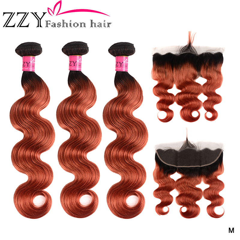 ZZY Brazilian T1B/350 Body Wave Bundles With Frontal non-remy Blonde Human Hair Lace Frontal Closure With Bundle