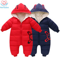 Herbabe Baby Boy Snowsuit Infant Girls Winter Clothes Velvet Warm Hooded Newborn Baby Snow Wear Toddler Kids Jumpsuit Outfits
