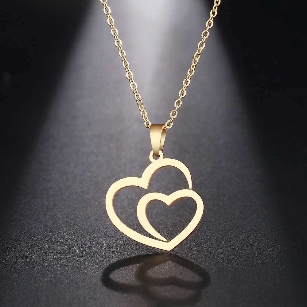 Fashion Women Gifts Choker Jewelry Double Heart Necklace Pendant Chain