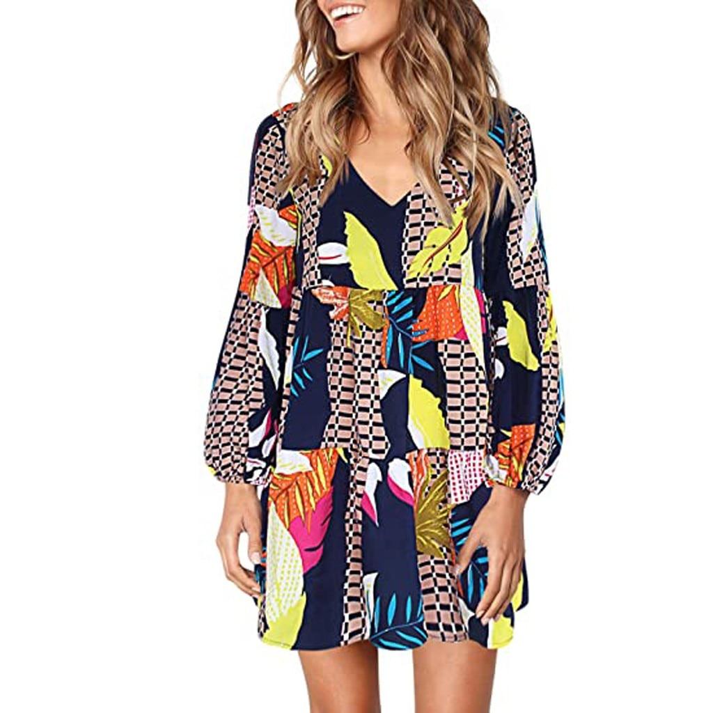 Women Summer Tunic Dress V Neck Casual Loose Flowy Swing Shift Dresses 2