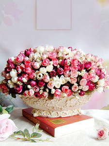 Bud Roses Gift Christmas-Decor Artificial Small Wedding 15-Heads/bouquet Autumn Home