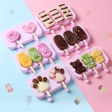 1Set Silicone Ice Cream Mold Diy Home Made Cartoon Popsicle Mallen Leuke Ijs Lolly Schimmel Met 50Pcs Popsicle sticks En Deksel(China)