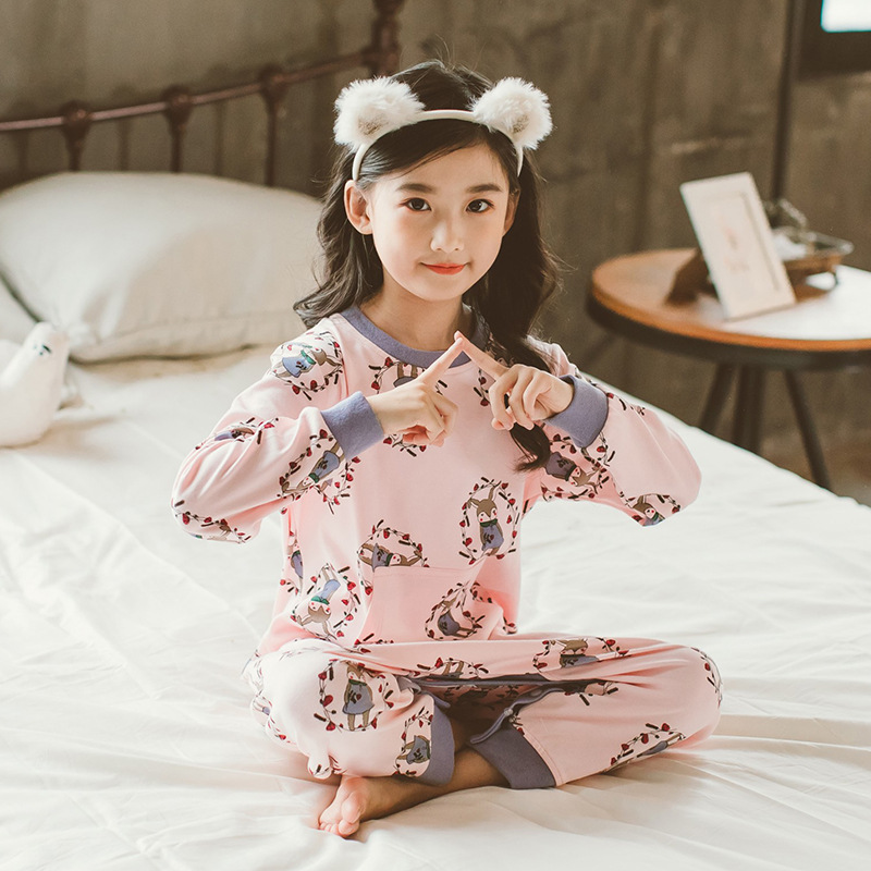 Spring And Autumn Children One-piece Pajama Pure Cotton Girls' Jumpsuit Cute Cartoon Little Girl Anti Cold Romper Home Wear