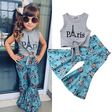 2018 New Kid Girls Clothes Baby Vest Tops Eiffel Tower T-shirt+Wide Leg Floral Pants Summer Children Outfits
