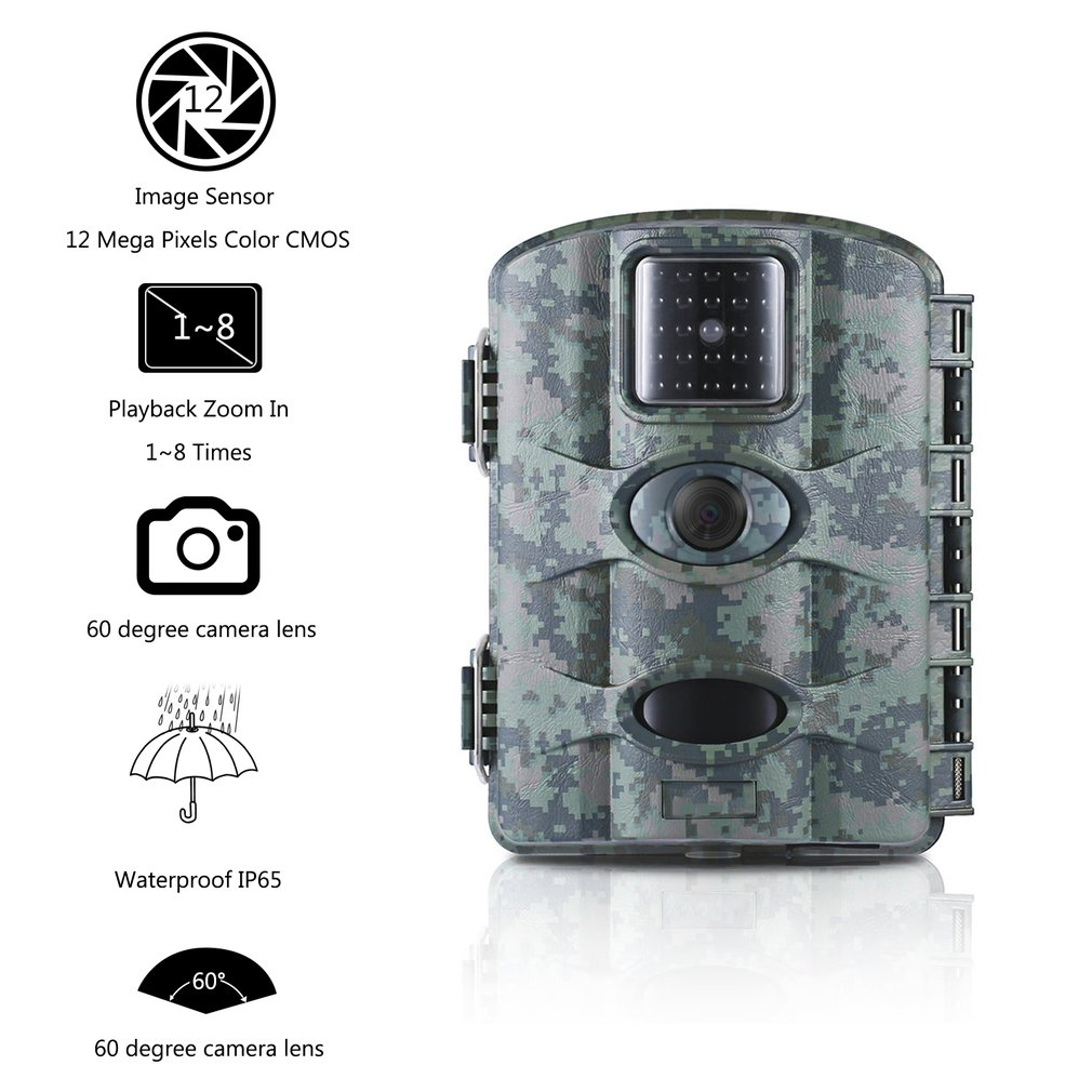 Camouflage 12MP Digital Trail Camera Game Hunting Camera With 60 Camera Lens 2.4 LCD Screen Scouting Surveillance Camera IP65