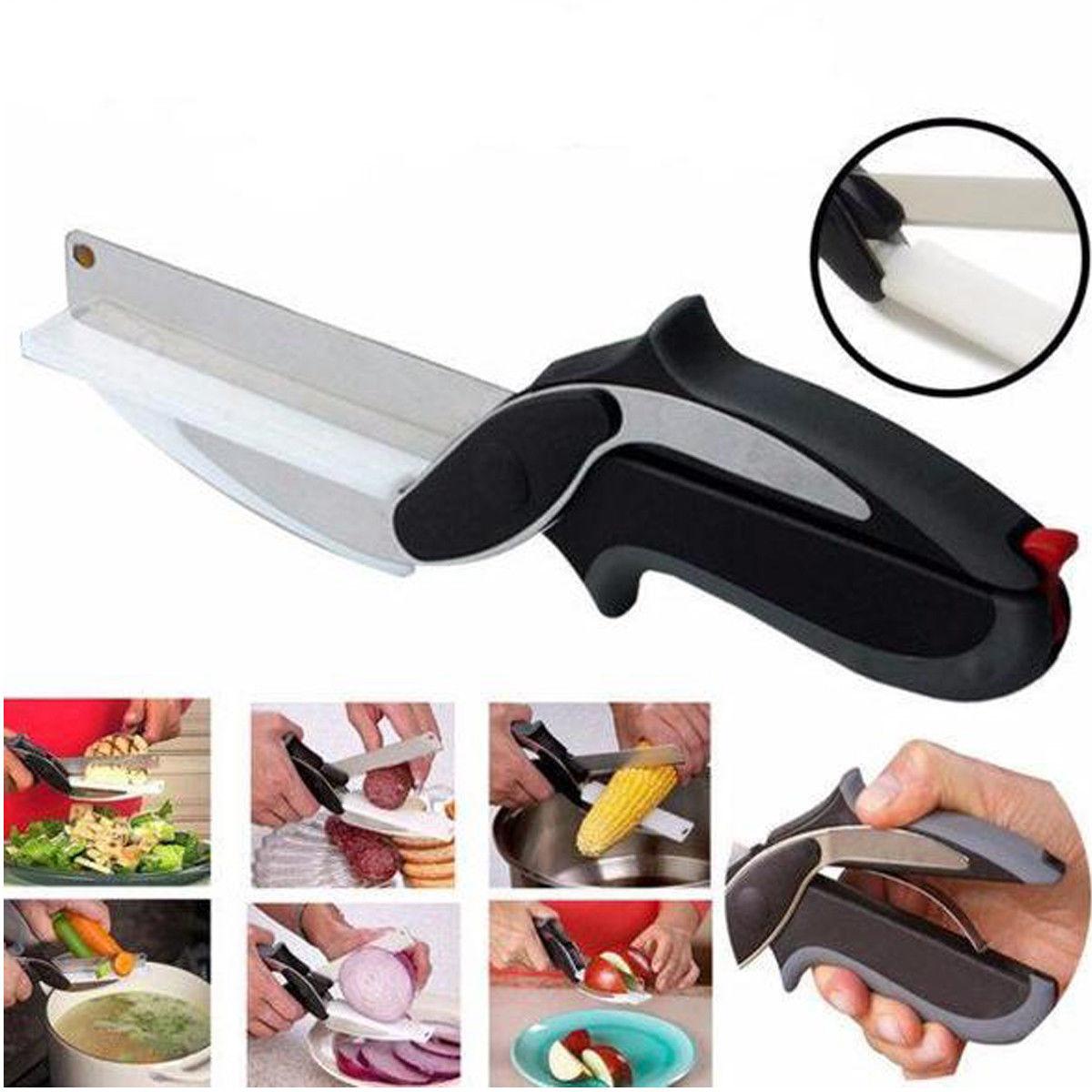 Нержавеющаясталь Кухня ножницы 2 в 1 разделочная кухонная доска Chopper Clever фрукты ножницы для овощей Многофункциональный резак