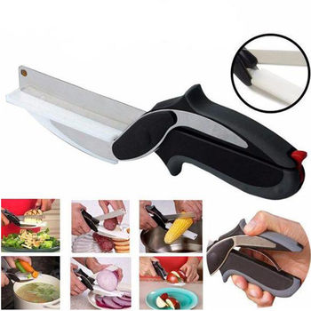 2 in 1 Stainless Steel Kitchen Knife and Scissors for Cutting and Chopping Fruits and Vegetable