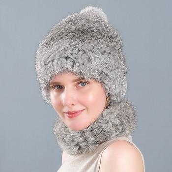 Rabbit fur hat female winter fashion Korean rabbit scarf warm ball ear protection thick