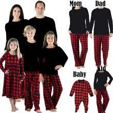 Хлопковый пижамный комплект на Рождество для всей семьи; тренировочный костюм для мужчин, женщин, детей и малышей; одежда для сна в красную клетку; Черный однотонный топ; повседневные штаны