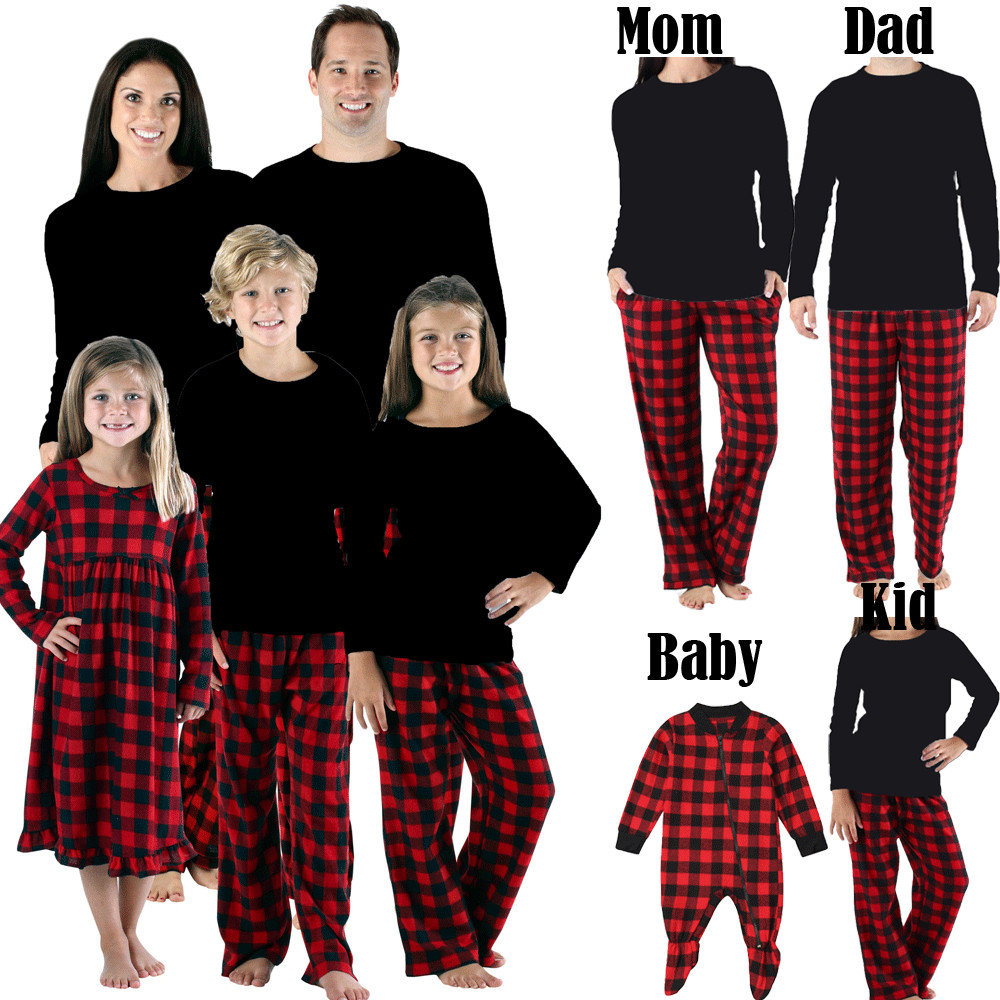 Cotton Family Matching Christmas Pajamas Set Men Women Kids Baby Tracksuit Nightwear Red Plaid Black Solid Tops Pants Casual
