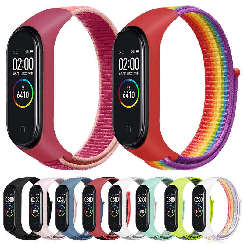 Нейлоновый ремешок для xiaomi mi band 4 браслет NFC смарт часы замена 3 цветной Ремешок