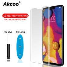 Akcoo ثلاثية الأبعاد منحني الزجاج المقسى ل LG V30 V40 G7 G8 V50 ThinQ واقي للشاشة فيلم الأشعة فوق البنفسجية السائل الغراء الكامل فيلم ل LG H930 فيلم