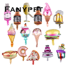 Balloons Pizza-Donut Wine-Bottle-Foil Ice-Cream Beer Birthday-Party Style Globals Decor-Supplies