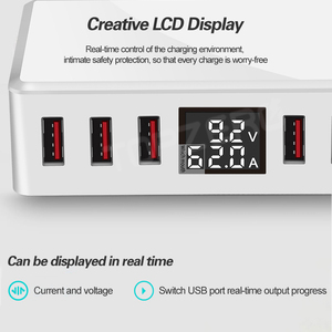 Image 3 - 6 Ports USB Charger QC 3.0 Fast Charging Smart LCD Digital Display Multi Port Travel Charger Station Quick Charge USB Charging
