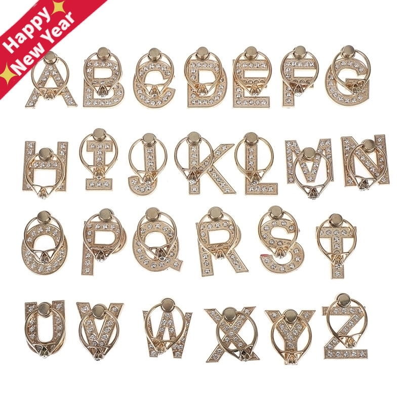360 Degree Diamond Metal Letter A-Z Finger Ring Smartphone Stand Holder Mobile Phone Holder For All Phone