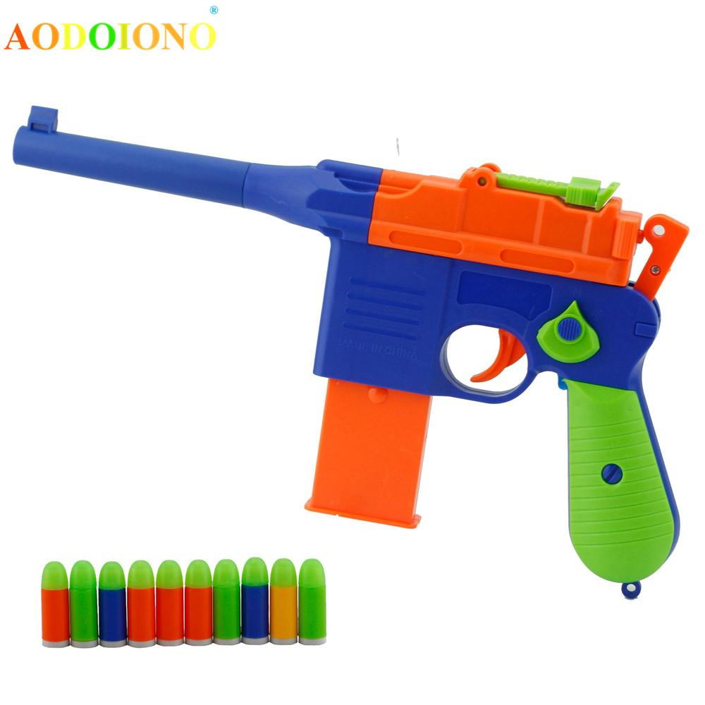 Kids Children Soft Bullet Gun Toy Luminous Color Bullets Toy Gun Outdoor Sports Playing Game Xmas New Year Gifts