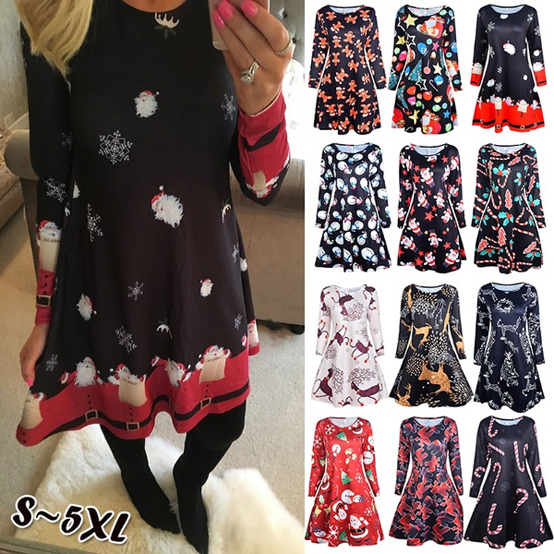 Autumn Winter Christmas Party Dress 2019 New Year Women Snowflake Print Long Sleeve Casual A-Line Dress Vestidos Plus Size S-5xl