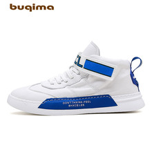 Buqima mens high-top canvas shoes student sports comfortable fabric velcro