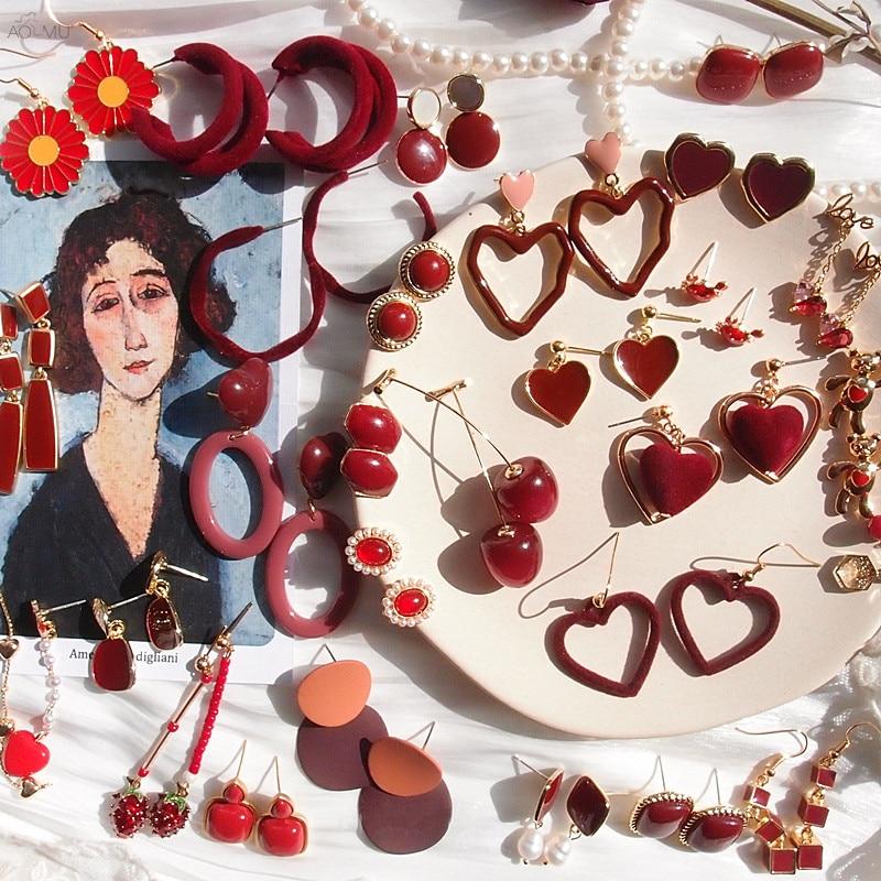 AOMU Retro Red Series Warm Winter Earrings Geometric Irregular Multilayer Metal Drop Earrings For Women Christmas Gifts Brincos
