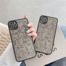 Art Line Face Phone Case For iPhone 11 Pro Max X XR XS Max 7 8 Plus SE2020 Relief Matte Back Cover Coque Funda