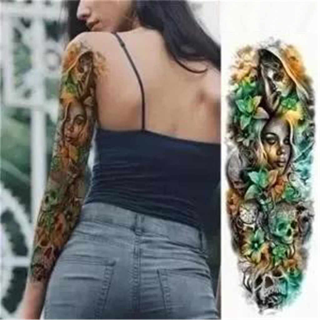 Sexy Long Full Arm Rose Clock Temporary Tattoos For Men Women Tatoo Body Leg Art Makeup Large Scary Fake Tattoo Stickers