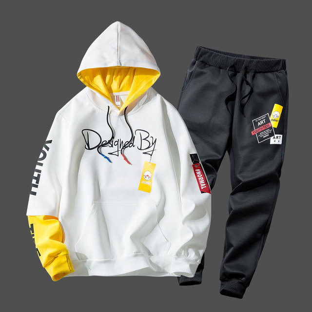 Fashion Hip Hop Sportswear Mens Two Piece Sweatshirt + Pants Sweat Set Casual Youth Track Suit Clothing Men Tracksuit Set 2