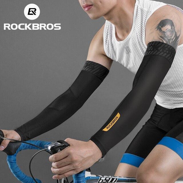 ROCKBROS летние рукава для рыбалки, баскетбола, волейбола, бега, велоспорта, ледяной шелк, крутые гетры для рук, УФ-защита, спортивные рукава