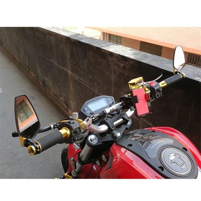 """Rétroviseur latéral en aluminium pour moto, 2 pièces, 7/8 """", 22mm, extrémité de la barre, guidon universel"""