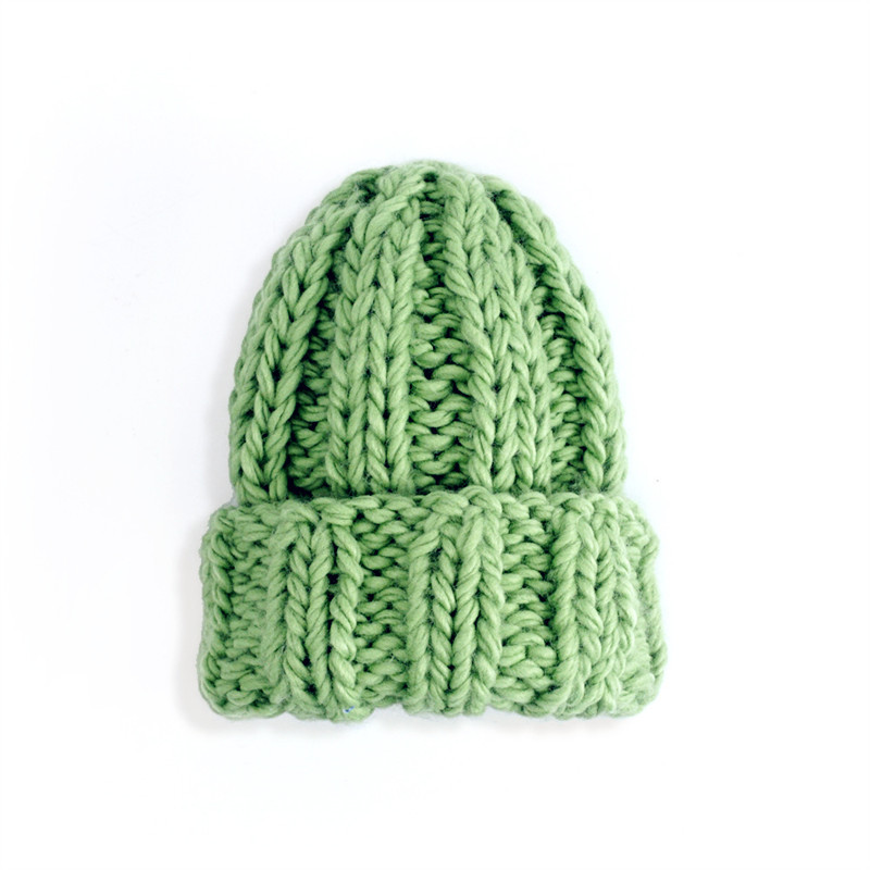 Women Winter Knitted Beanies Hat Thick Soft Warm Coarse Large Knitted Solid Hat Female Ice Ski Bonnet Skullies Beanies Hat Cap 206
