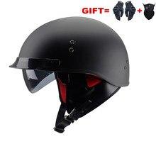 Black Vintage Motorcycle Helmet Open Face Helmet New Dot Approved Half Helmet Retro Moto Casco Capacete Motociclistas Capacete