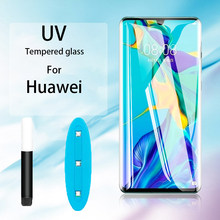 Protetor de tela curva de vidro temperado, protetor UV líquido cola completa transparente para Huawei Mate 30 20 Pro película para P30 20 Pro Lite Mate 20 lite 5D