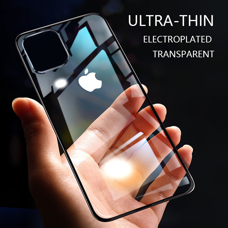 Lovebay Transparent Electroplated Phone Case For IPhone 11 Pro X XR XS Max 7 8 6 6S Plus Solid Color Soft TPU Silicon Back Cover
