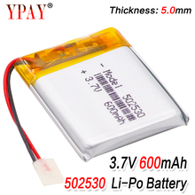 цена на 3.7V lithium polymer battery Li-ion Rechargeable battery 502530 052530 600mah For MP3 MP4 MP5 GPS Recorder Pen Electric toys