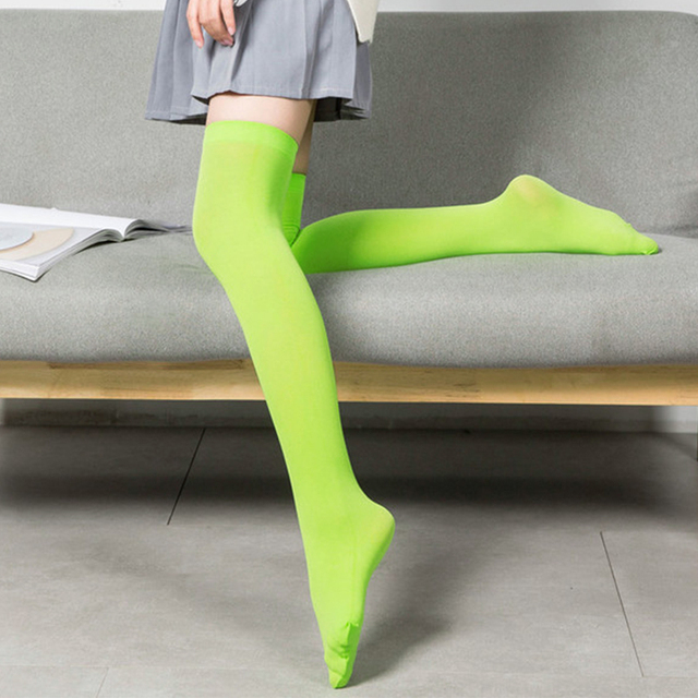 Neon Stockings For Women Japanese Mori Girl Sexy Thigh High Stockings Over Knee Elasticity Nylon Silk Stocking Female Hosiery
