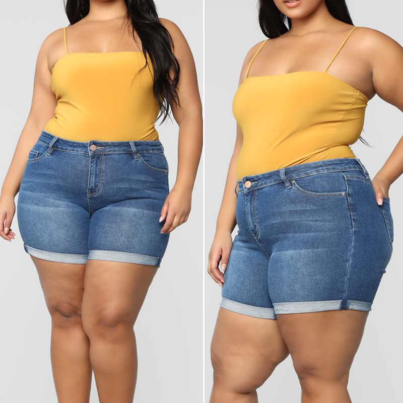Women Plus Size Stretch Denim Shorts High Waisted Hot Shorts for Summer M88