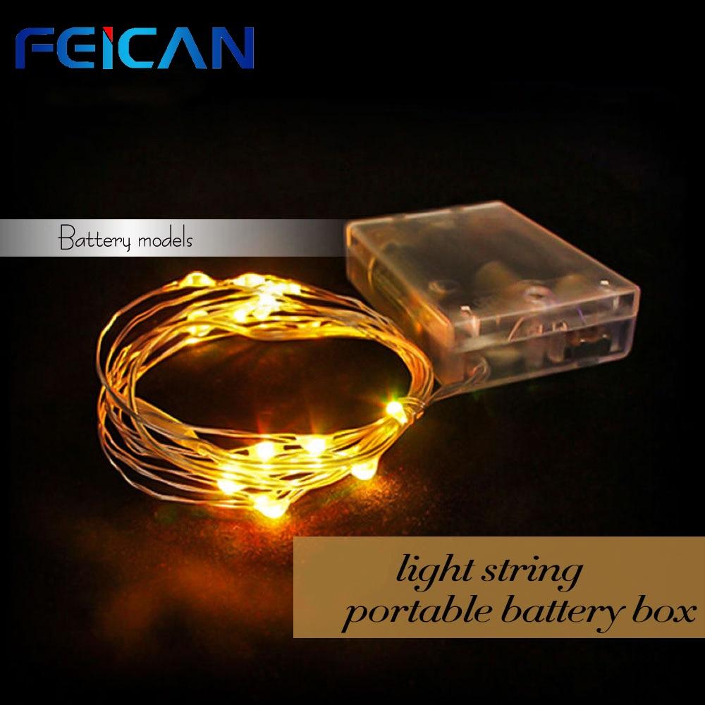 Chaîne décorative LED lumières 100 LED s 10m 3 AA batterie alimentée pour la fête de noël fête de mariage vacances éclairage 7 couleurs
