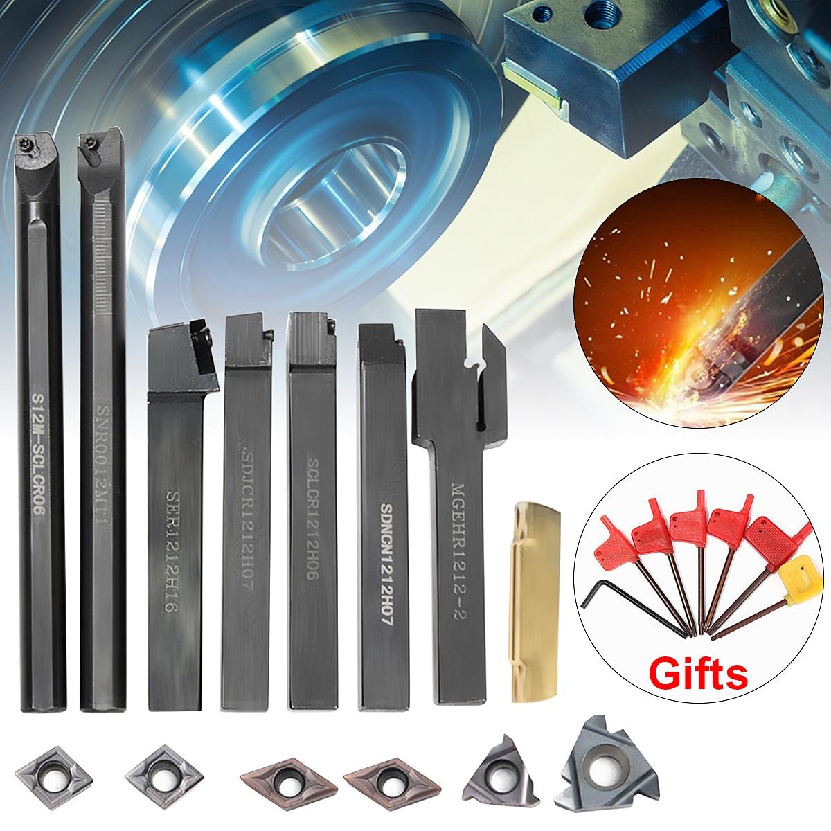 7PCS DCMT CCMT Carbide Insert + 7PCS 12MM Lathe Turning Tool Holder Boring Bar + Wrench For Lathe Turning Tool