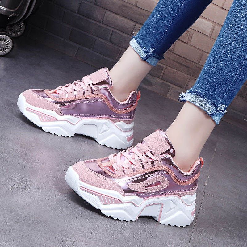Women Platform Chunky Sneakers 5cm high lace-up Casual Vulcanize Shoes luxury Designer Old Dad female fashion Sneakers 2020