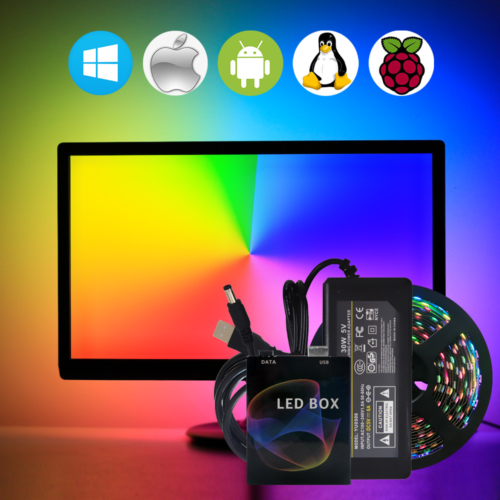<font><b>WS2812B</b></font> Ambilight USB LED Strip Light HDTV TV Backlight Pc for Monitor Desktop Lights RGB Tape Neon Ws2812 Pixel Fita Lamp Tira image
