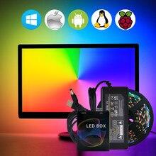Tira de luz de led usb ws2812b, luz de fundo para televisão rgb ws2812 pixel fita tira de lâmpada