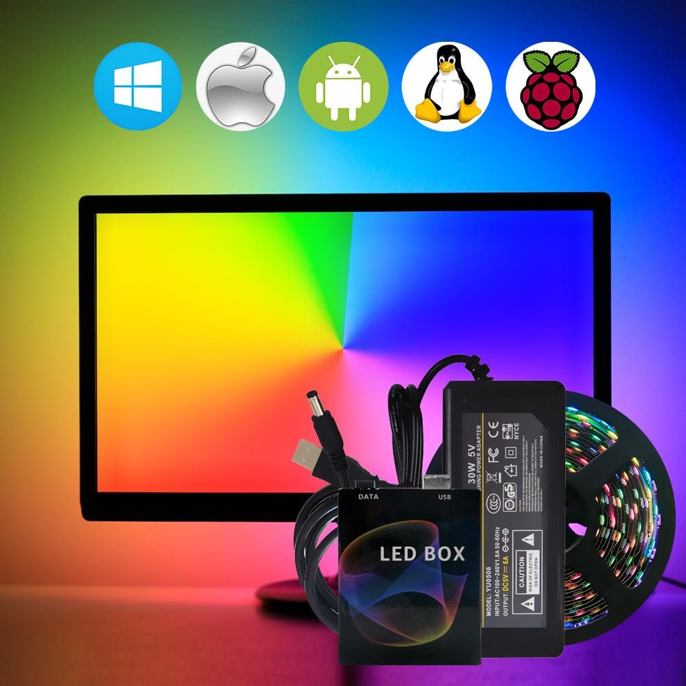 WS2812B Ambilight USB LED Strip Light HDTV TV Backlight Pc for Monitor Desktop Lights RGB Tape Neon Ws2812 Pixel Fita Lamp Tira(China)