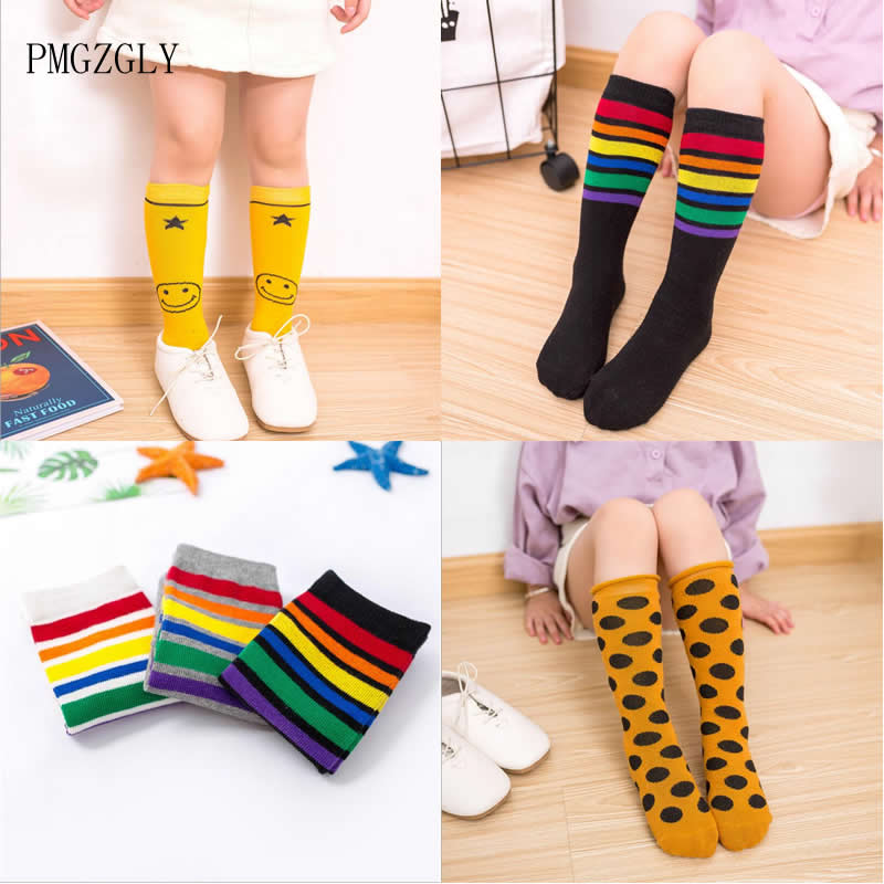 2 To 8 Year Kids Socks 30cm Long Knee High Socks Children Kids Stripe Dot  Leg Warm Solid Cotton  Unisex Toddler Boot Socks