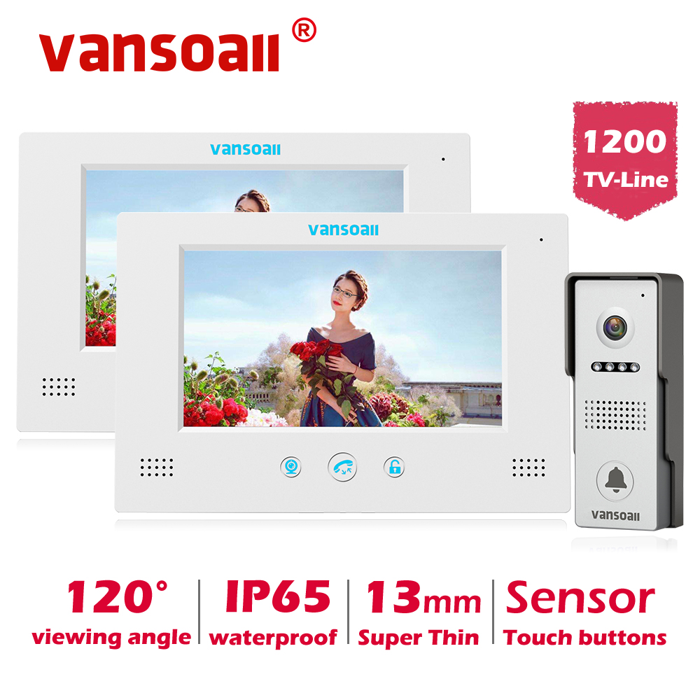 VANSOALL Video Door Phone Doorbell  Intercom System With Lock Control Touch Button 2 Color 7inch Monitor And 1 HD Camera Kit