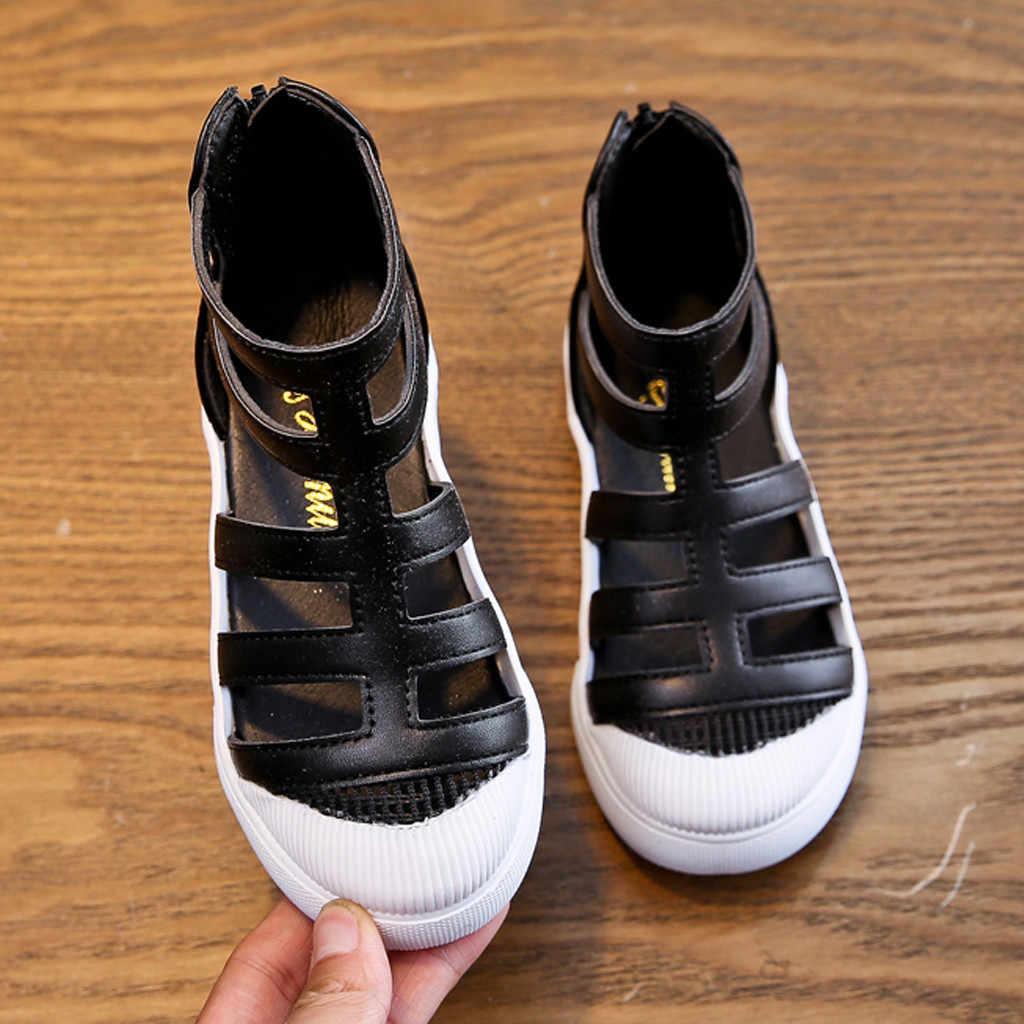 Çocuk sandalet PU Deri Yumuşak Yaz Erkek Kız Moda Roma yüksek kaliteli ayakkabılar Çocuklar gladyatör sandalet Plaj spor ayakkabılar